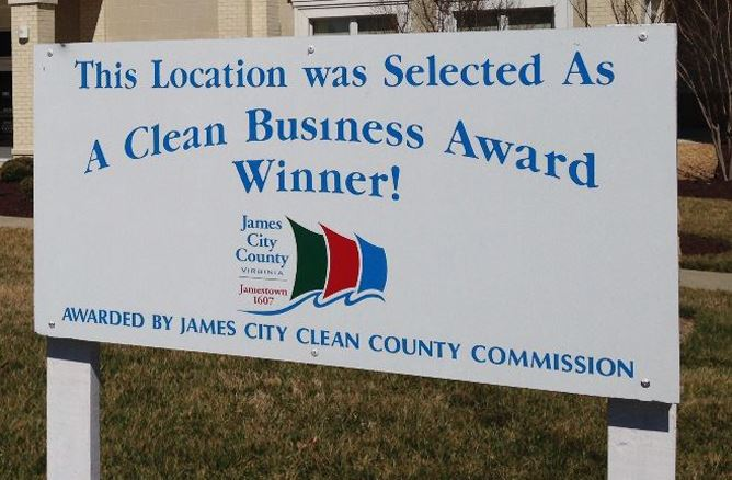This Location was Selected As a Clean Business Winner Awarded by James City Clean County Commission