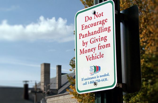 Do not encourage panhandling sign posted