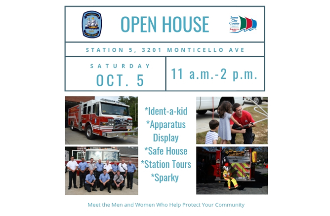 Open House Station 5 3201 Monticello Avenue Saturday Oct 5 11 am 2 pm Ident a kid Apparatus Display