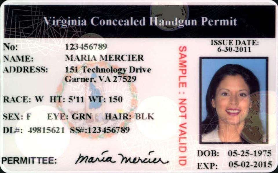 Sample Concealed Handgun Permit Data Card